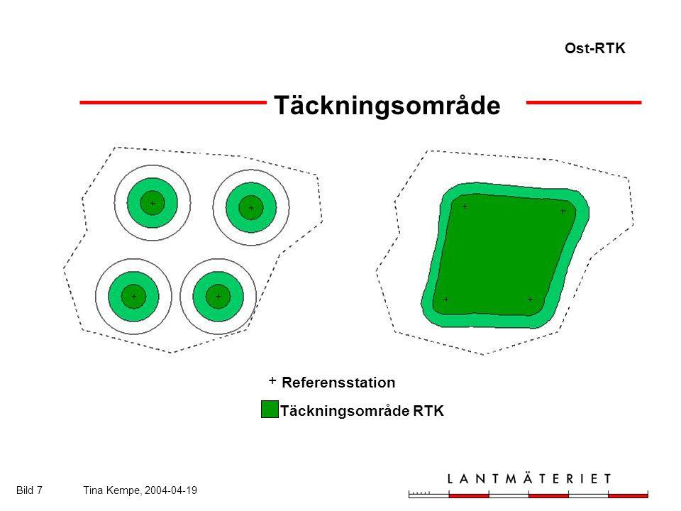 Ost-RTK Bild 7Tina Kempe, 2004-04-19 Täckningsområde Referensstation Täckningsområde RTK +