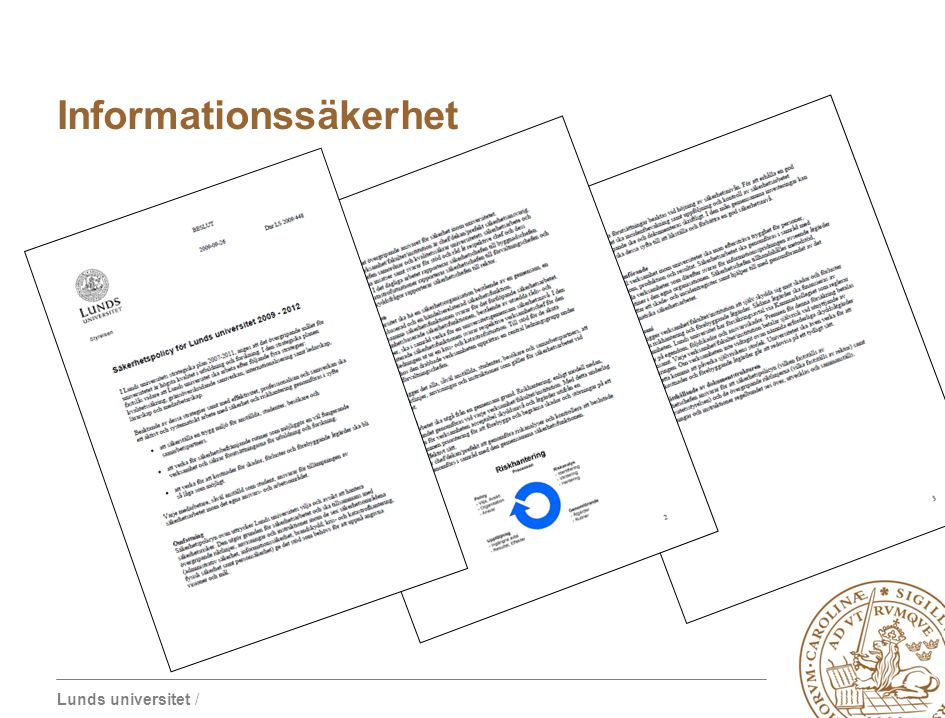 Lunds universitet / Pågående utvecklingsprojekt / Presentation 2010-05-05 Prefektmöte Informationssäkerhet
