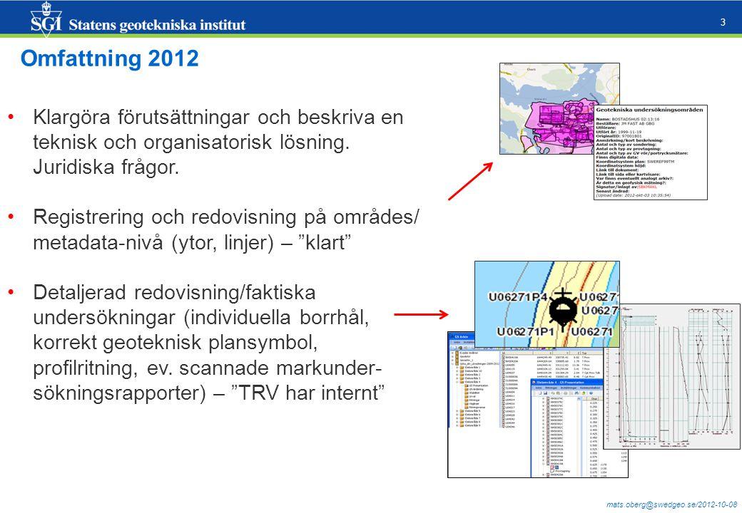 mats.oberg@swedgeo.se/2012-10-08 3 Klargöra förutsättningar och beskriva en teknisk och organisatorisk lösning.
