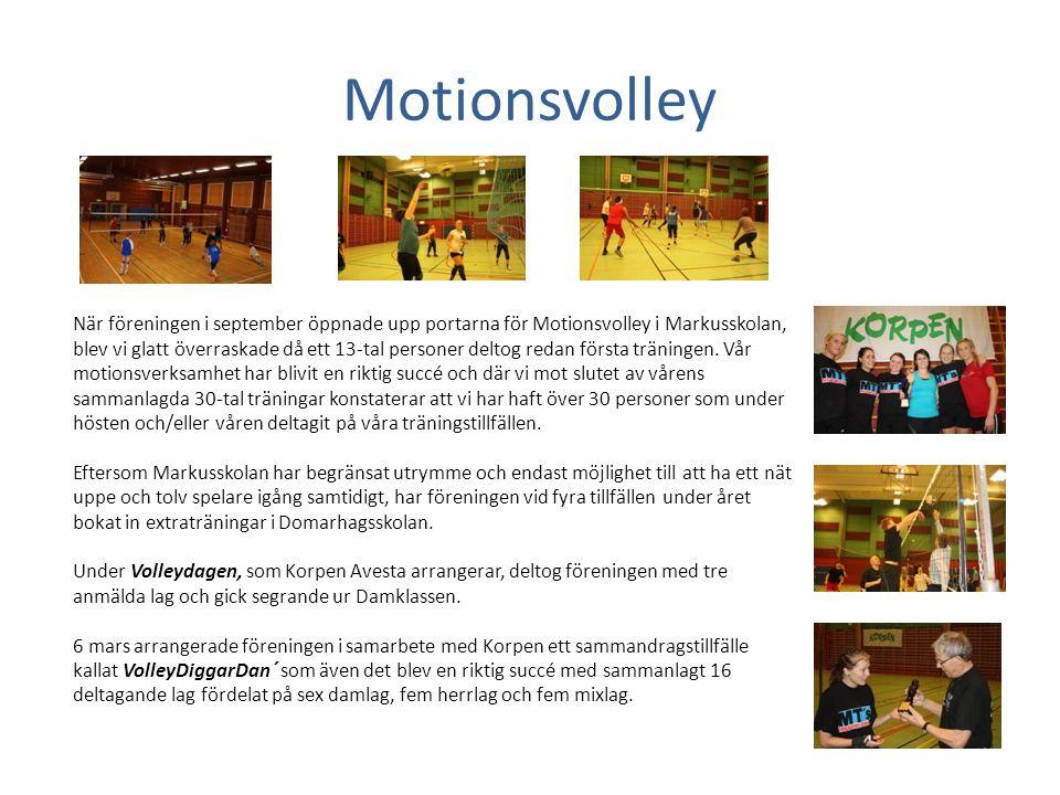 Motionsvolley När föreningen i september öppnade upp portarna för Motionsvolley i Markusskolan, blev vi glatt överraskade då ett 13-tal personer delto