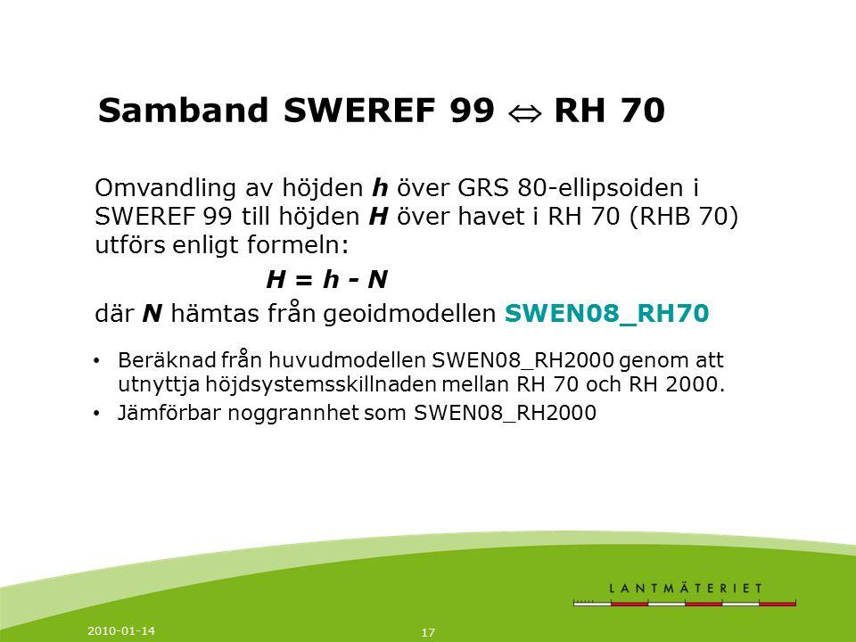 2010-01-14 17 Omvandling av höjden h över GRS 80-ellipsoiden i SWEREF 99 till höjden H över havet i RH 70 (RHB 70) utförs enligt formeln: H = h - N dä