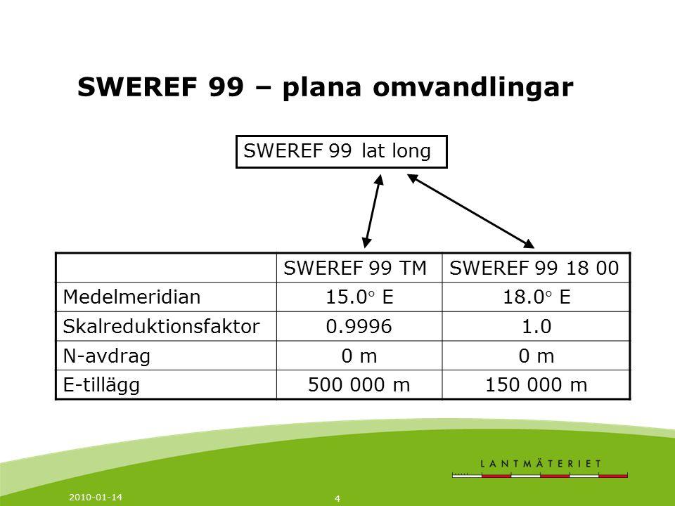 2010-01-14 4 SWEREF 99 – plana omvandlingar SWEREF 99 SWEREF 99 TMSWEREF 99 18 00 Medelmeridian 15.0 E18.0 E Skalreduktionsfaktor0.99961.0 N-avdrag0