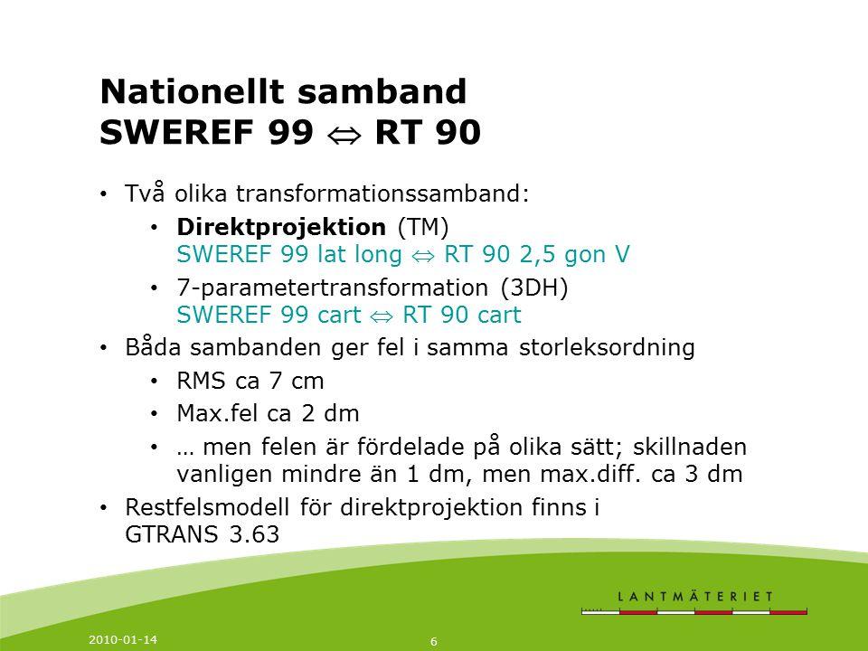 2010-01-14 6 Två olika transformationssamband: Direktprojektion (TM) SWEREF 99 lat long  RT 90 2,5 gon V 7-parametertransformation (3DH) SWEREF 99 ca
