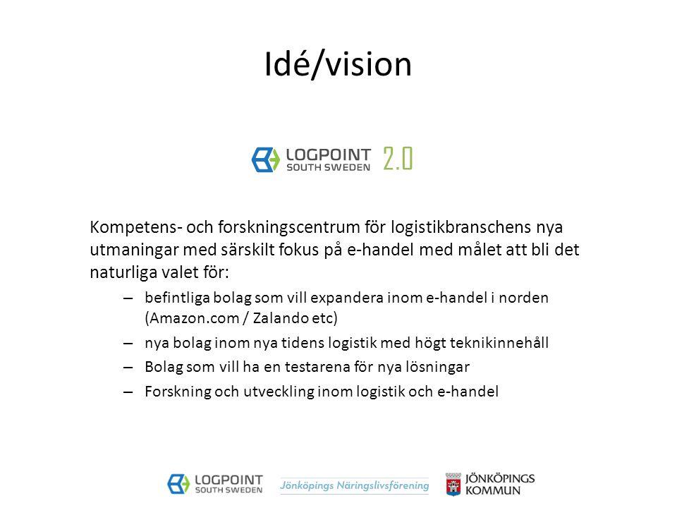 Syfte förstudie Fastställa om LogPoint och Jönköping kan och skall försöka positionera sig inom logistik och e-handel och i så är fall: -hur ska en sådan satsning utformas -vilka effekter den skall ge -vad den skall innehålla -vem ska driva satsningen