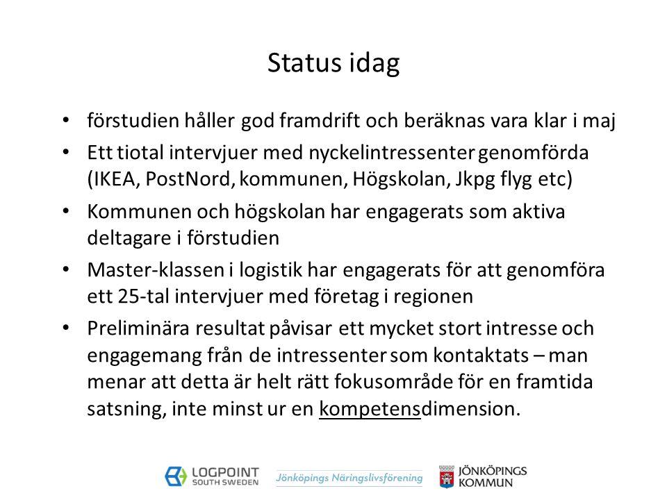 Status idag förstudien håller god framdrift och beräknas vara klar i maj Ett tiotal intervjuer med nyckelintressenter genomförda (IKEA, PostNord, komm