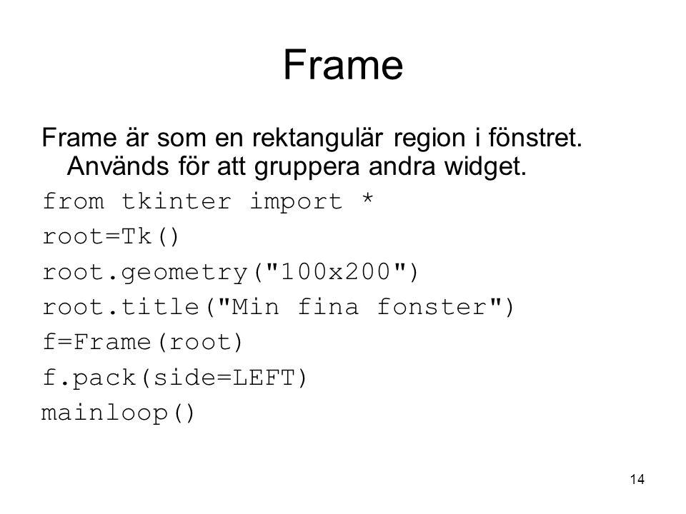 14 Frame Frame är som en rektangulär region i fönstret.