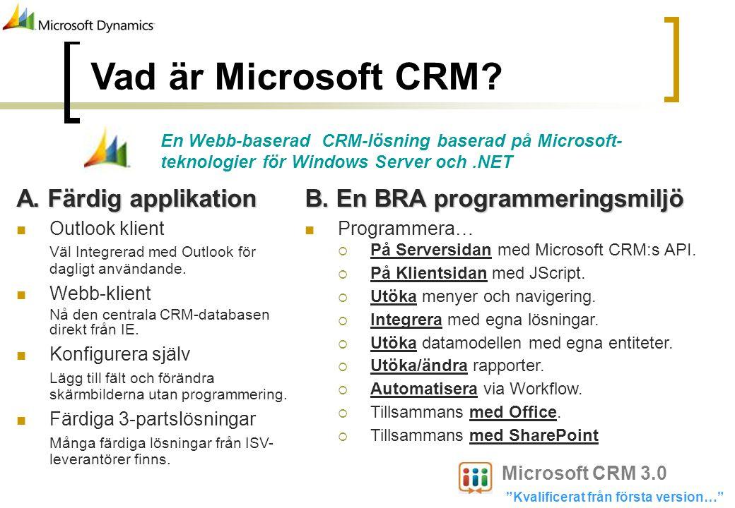 Vad är Microsoft CRM? A. Färdig applikation Outlook klient Väl Integrerad med Outlook för dagligt användande. Webb-klient Nå den centrala CRM-database