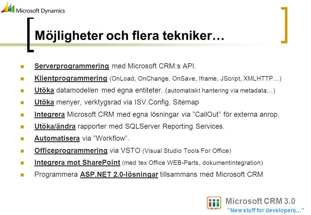 Möjligheter och flera tekniker… Serverprogrammering med Microsoft CRM:s API. Klientprogrammering (OnLoad, OnChange, OnSave, Iframe, JScript, XMLHTTP…)