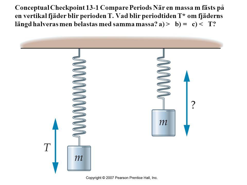 Conceptual Checkpoint 13-1 Compare Periods När en massa m fästs på en vertikal fjäder blir perioden T. Vad blir periodtiden T* om fjäderns längd halve