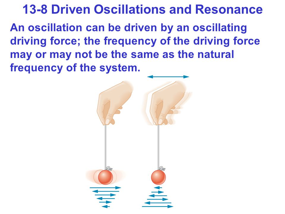 13-8 Driven Oscillations and Resonance An oscillation can be driven by an oscillating driving force; the frequency of the driving force may or may not be the same as the natural frequency of the system.
