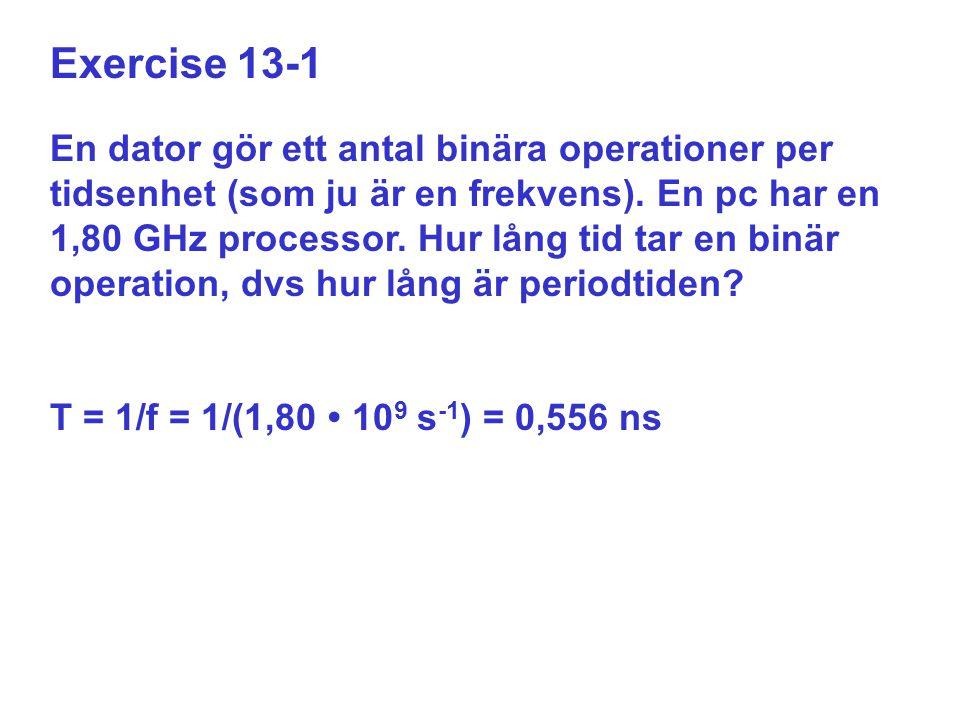 Exercise 13-1 En dator gör ett antal binära operationer per tidsenhet (som ju är en frekvens). En pc har en 1,80 GHz processor. Hur lång tid tar en bi