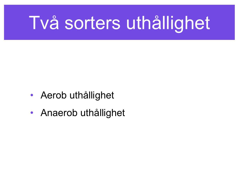 Två sorters uthållighet Aerob uthållighet Anaerob uthållighet