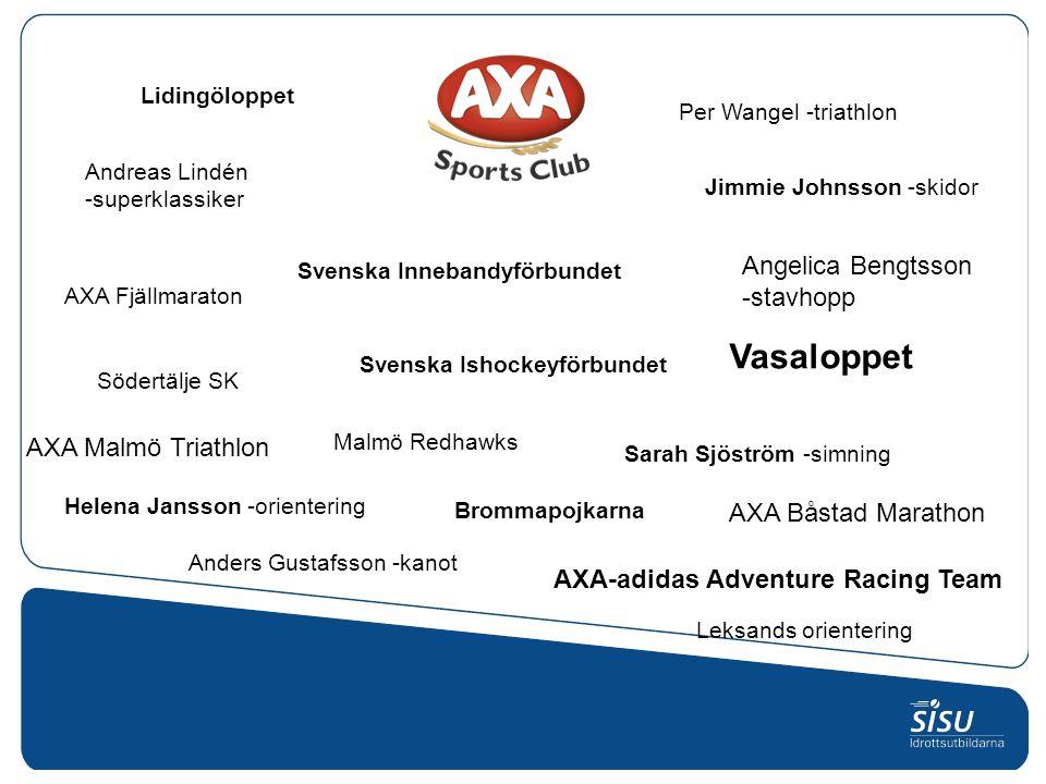 Svenska Innebandyförbundet Svenska Ishockeyförbundet Malmö Redhawks Per Wangel -triathlon Brommapojkarna AXA Båstad Marathon AXA Malmö Triathlon Lidin