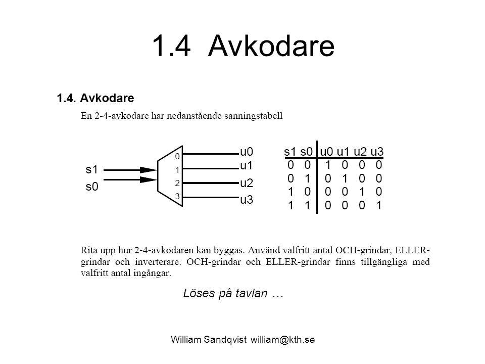 1.4 Avkodare William Sandqvist william@kth.se Löses på tavlan …
