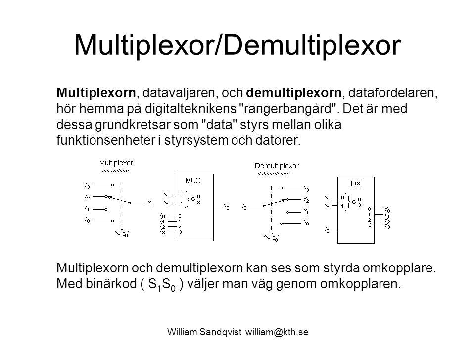 William Sandqvist william@kth.se Multiplexor/Demultiplexor Multiplexorn, dataväljaren, och demultiplexorn, datafördelaren, hör hemma på digitalteknike