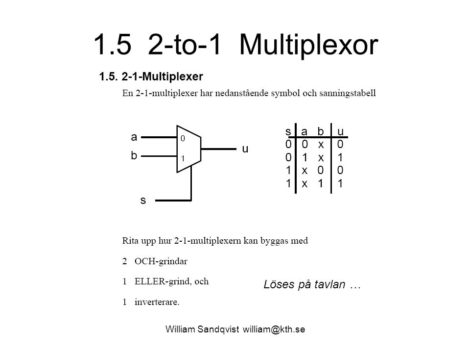 1.5 2-to-1 Multiplexor William Sandqvist william@kth.se Löses på tavlan …
