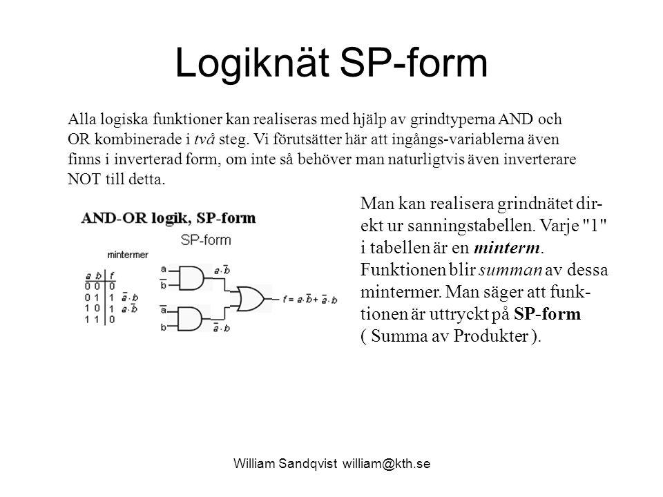 Logiknät SP-form Alla logiska funktioner kan realiseras med hjälp av grindtyperna AND och OR kombinerade i två steg. Vi förutsätter här att ingångs-va