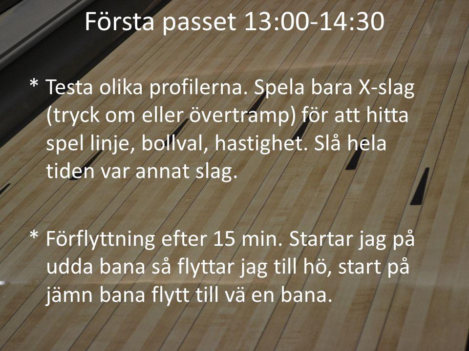 Första passet 13:00-14:30 * Testa olika profilerna.