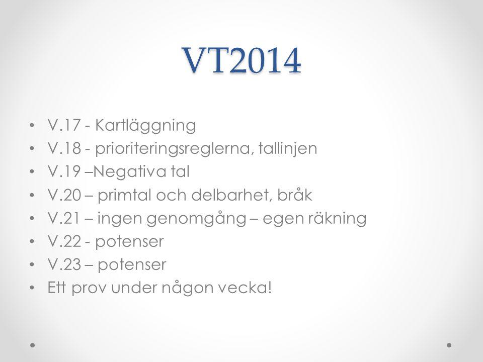 VT2014 V.17 - Kartläggning V.18 - prioriteringsreglerna, tallinjen V.19 –Negativa tal V.20 – primtal och delbarhet, bråk V.21 – ingen genomgång – egen räkning V.22 - potenser V.23 – potenser Ett prov under någon vecka!