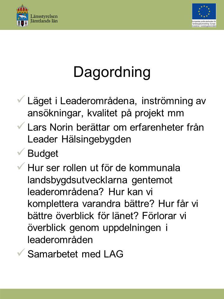Dagordning Läget i Leaderområdena, inströmning av ansökningar, kvalitet på projekt mm Lars Norin berättar om erfarenheter från Leader Hälsingebygden Budget Hur ser rollen ut för de kommunala landsbygdsutvecklarna gentemot leaderområdena.