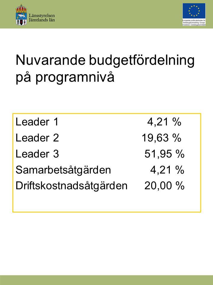 Nuvarande budgetfördelning på programnivå Leader 1 4,21 % Leader 2 19,63 % Leader 3 51,95 % Samarbetsåtgärden 4,21 % Driftskostnadsåtgärden 20,00 %