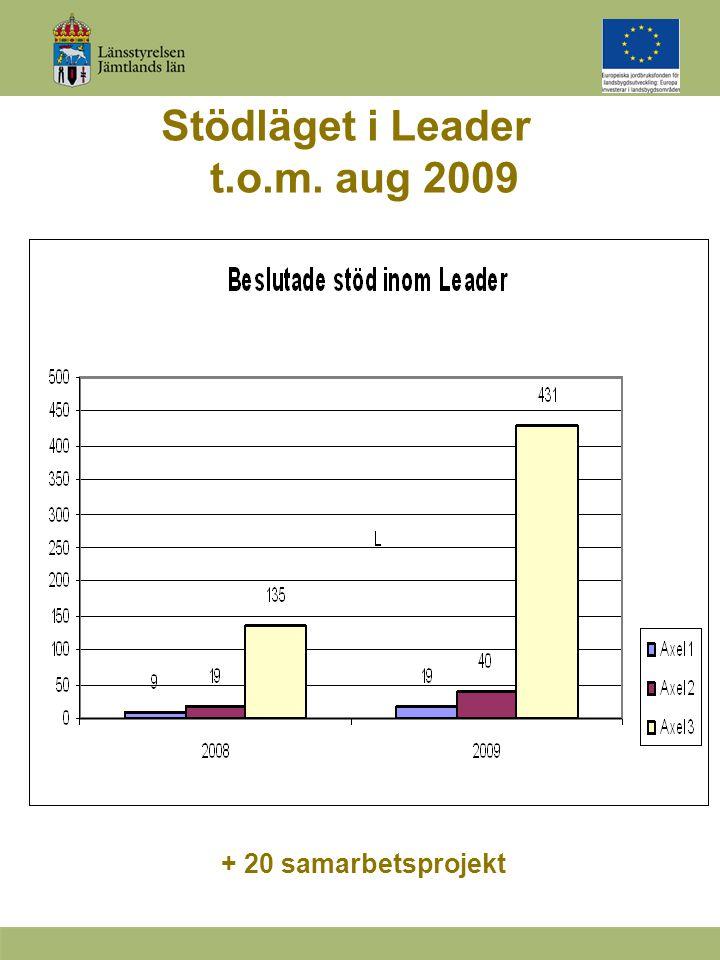Stödläget i Leader t.o.m. aug 2009 + 20 samarbetsprojekt