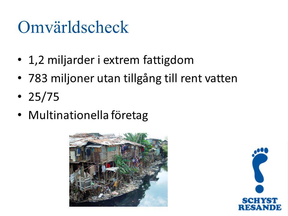 Omvärldscheck 1,2 miljarder i extrem fattigdom 783 miljoner utan tillgång till rent vatten 25/75 Multinationella företag