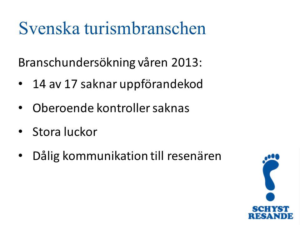 Svenska turismbranschen Branschundersökning våren 2013: 14 av 17 saknar uppförandekod Oberoende kontroller saknas Stora luckor Dålig kommunikation till resenären