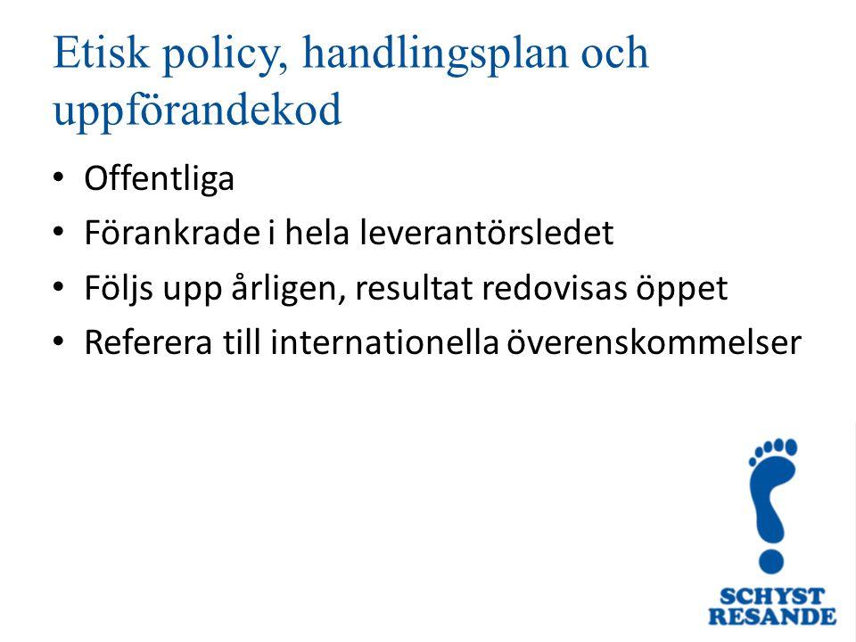 Etisk policy, handlingsplan och uppförandekod Offentliga Förankrade i hela leverantörsledet Följs upp årligen, resultat redovisas öppet Referera till internationella överenskommelser