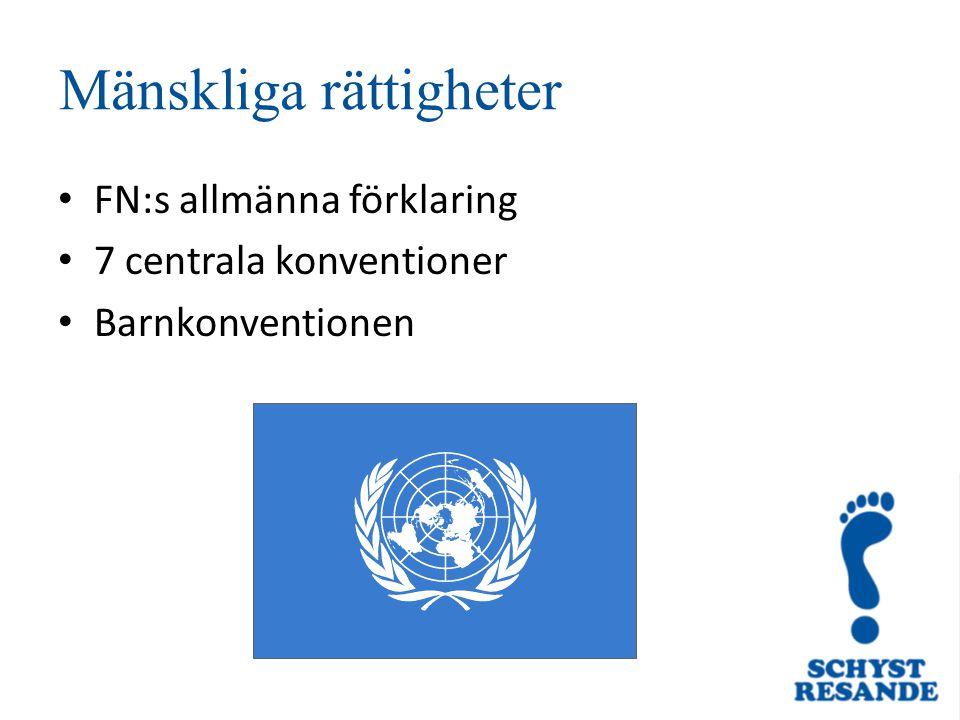 Mänskliga rättigheter FN:s allmänna förklaring 7 centrala konventioner Barnkonventionen