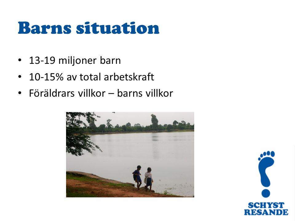 13-19 miljoner barn 10-15% av total arbetskraft Föräldrars villkor – barns villkor