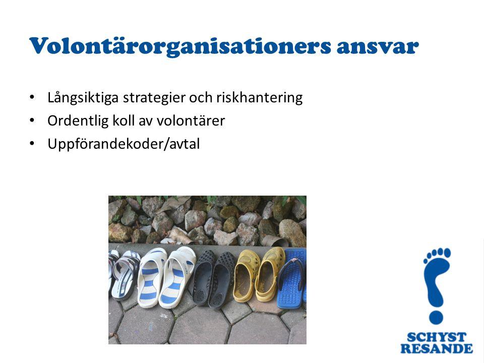 Volontärorganisationers ansvar Långsiktiga strategier och riskhantering Ordentlig koll av volontärer Uppförandekoder/avtal