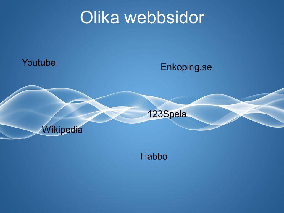 Olika webbsidor Youtube Enkoping.se Wikipedia 123Spela Habbo