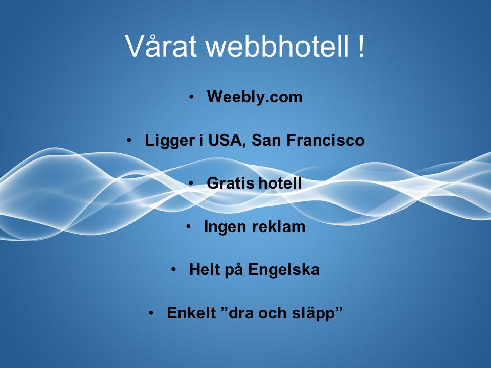 """Vårat webbhotell ! Weebly.com Ligger i USA, San Francisco Gratis hotell Ingen reklam Helt på Engelska Enkelt """"dra och släpp"""""""