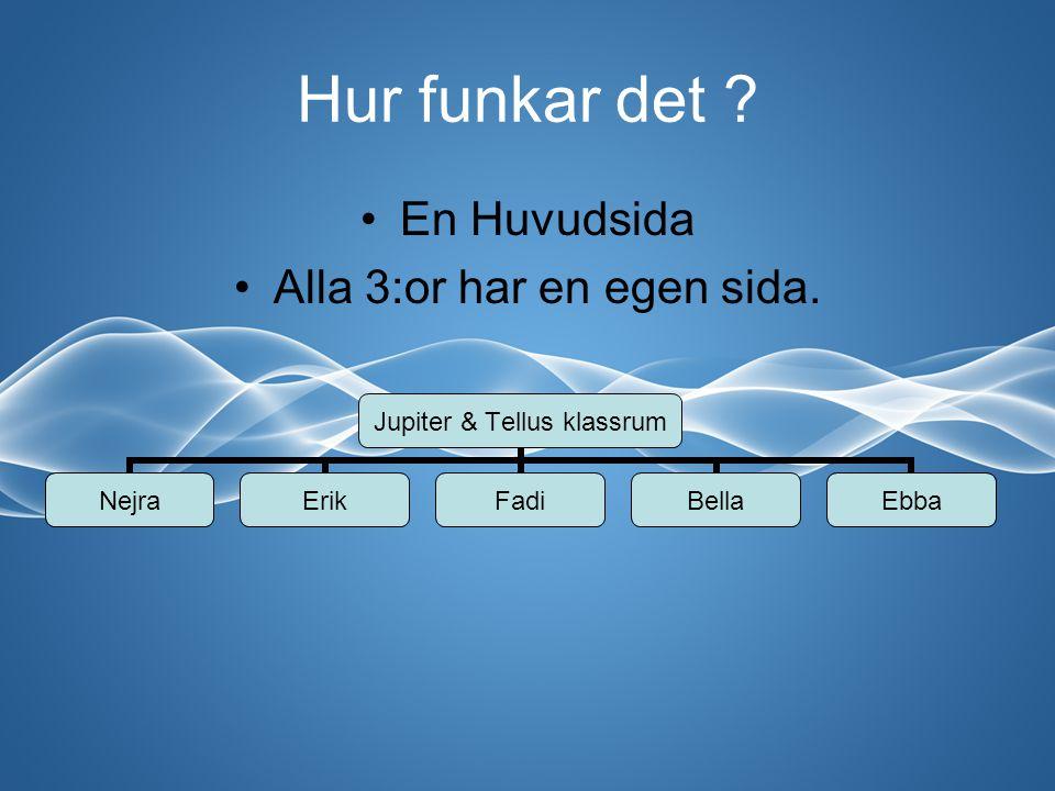 Hur funkar det ? En Huvudsida Alla 3:or har en egen sida. Jupiter & Tellus klassrum NejraErikFadiBellaEbba