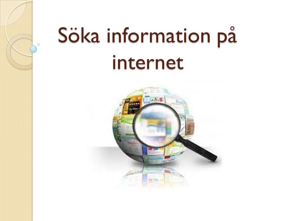 Söka information på internet