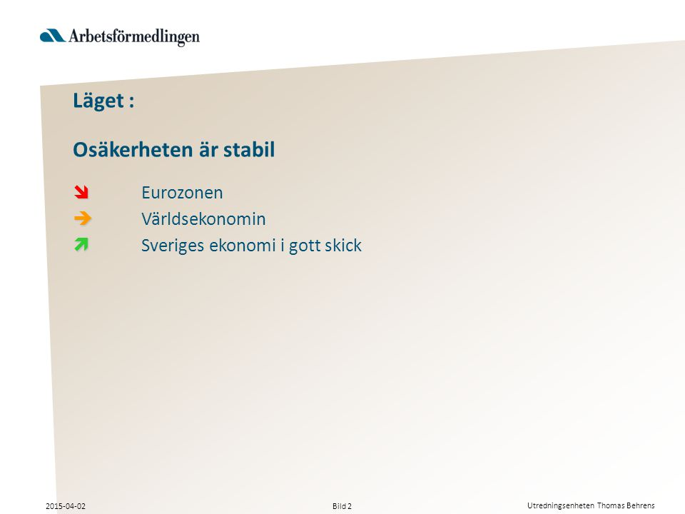 Bild 2 2015-04-02 Utredningsenheten Thomas Behrens Läget : Osäkerheten är stabil   Eurozonen   Världsekonomin   Sveriges ekonomi i gott skick
