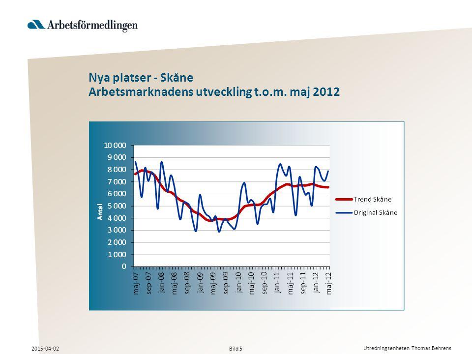 Bild 5 2015-04-02 Utredningsenheten Thomas Behrens Nya platser - Skåne Arbetsmarknadens utveckling t.o.m.