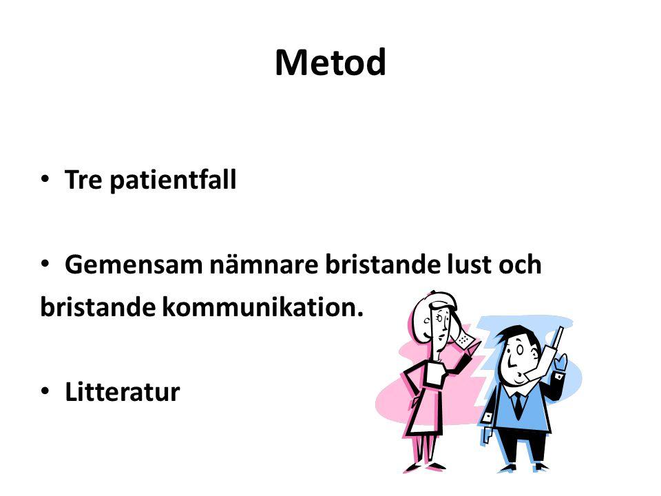 Metod Tre patientfall Gemensam nämnare bristande lust och bristande kommunikation. Litteratur