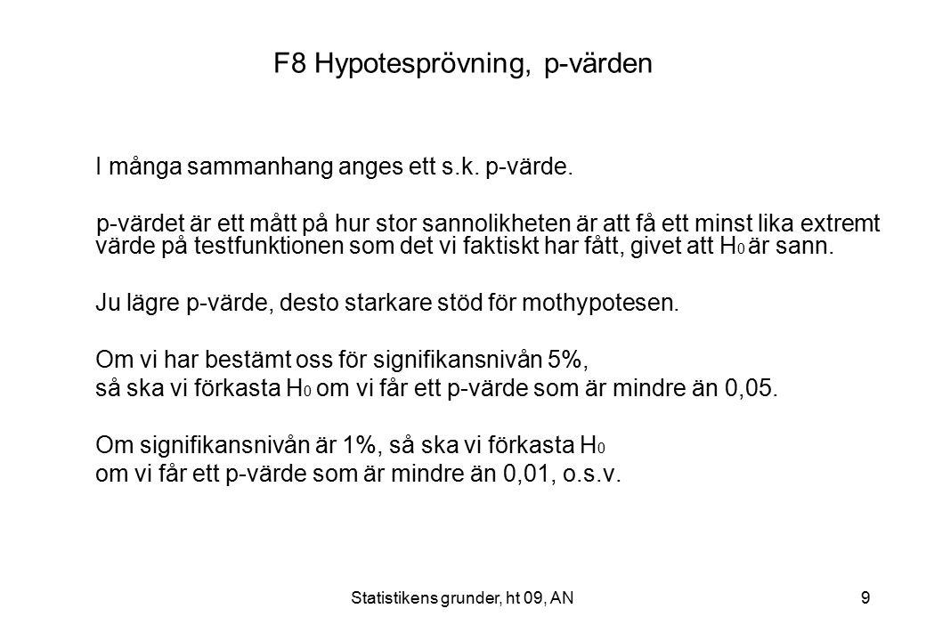 Statistikens grunder, ht 09, AN9 F8 Hypotesprövning, p-värden I många sammanhang anges ett s.k.