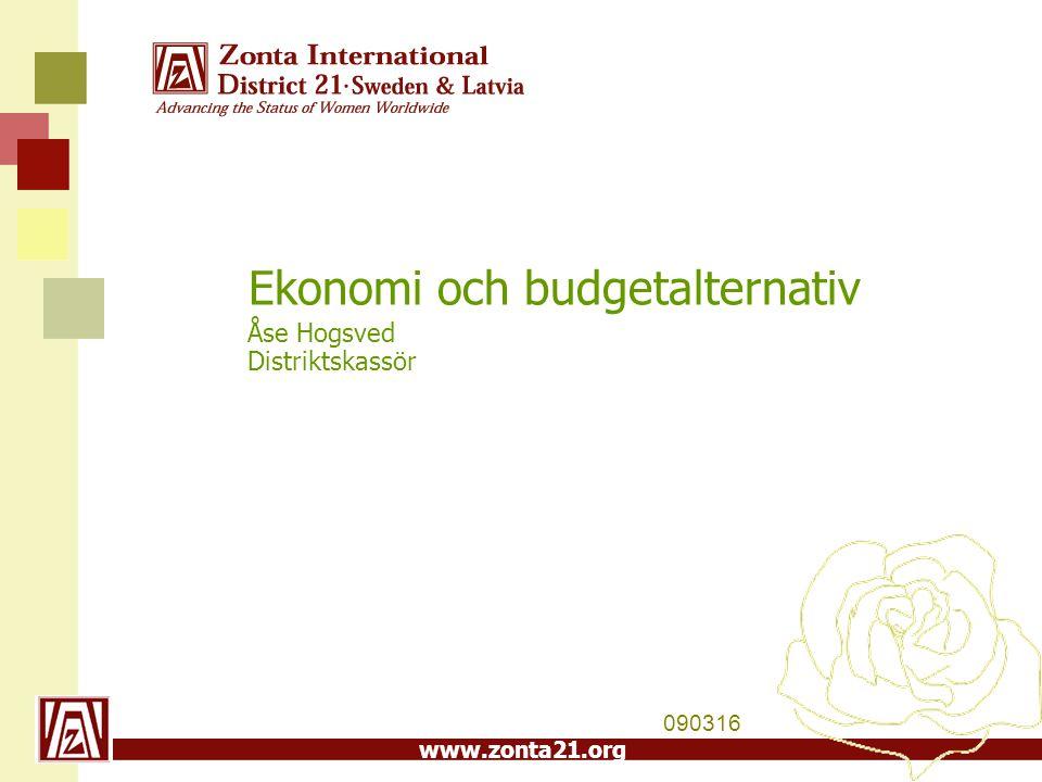 www.zonta21.org Ekonomi och budgetalternativ Åse Hogsved Distriktskassör 090316