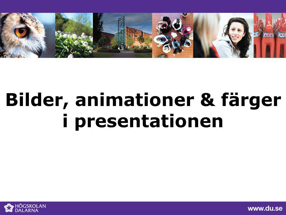 Bilder, animationer & färger i presentationen