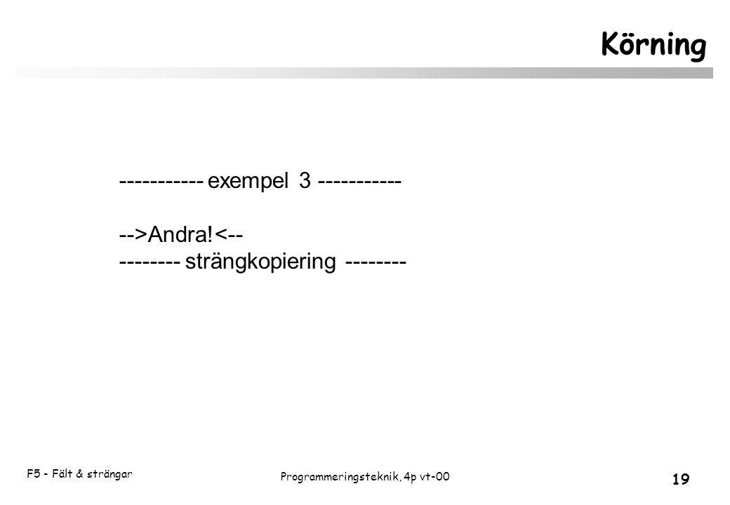 F5 - Fält & strängar 19 Programmeringsteknik, 4p vt-00 Körning ----------- exempel 3 ----------- -->Andra!<-- -------- strängkopiering --------