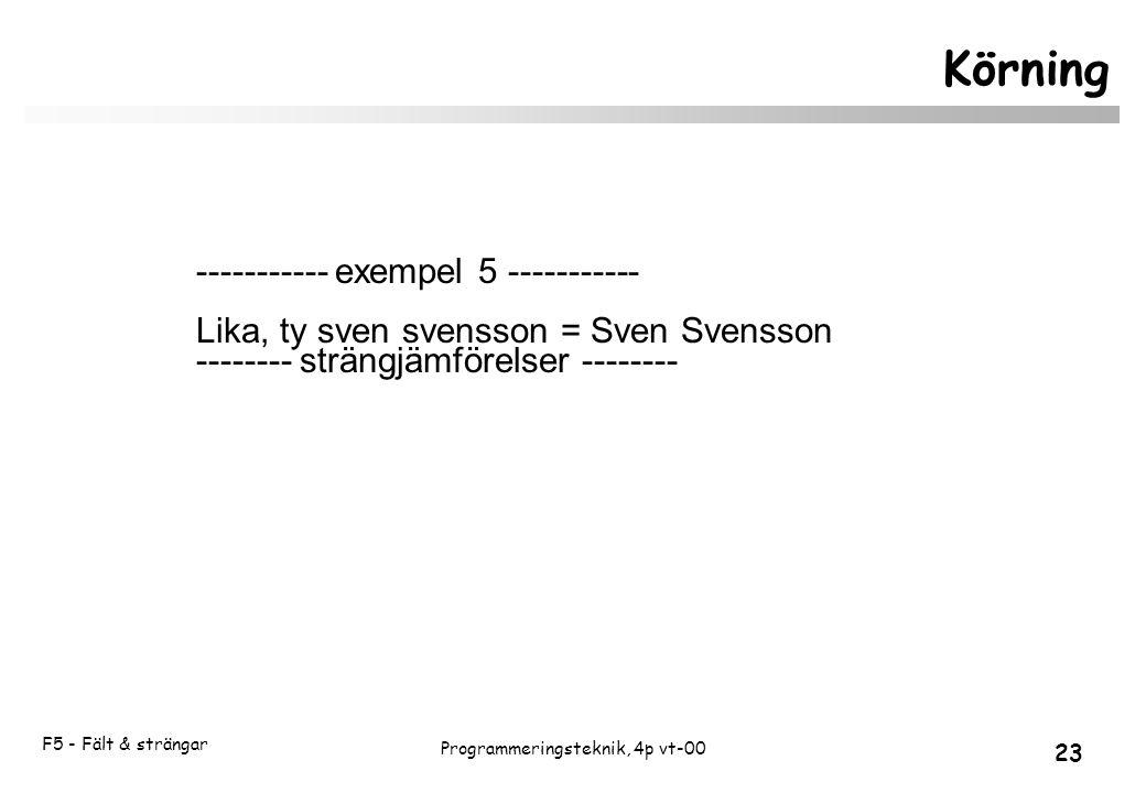 F5 - Fält & strängar 23 Programmeringsteknik, 4p vt-00 Körning ----------- exempel 5 ----------- Lika, ty sven svensson = Sven Svensson -------- strängjämförelser --------