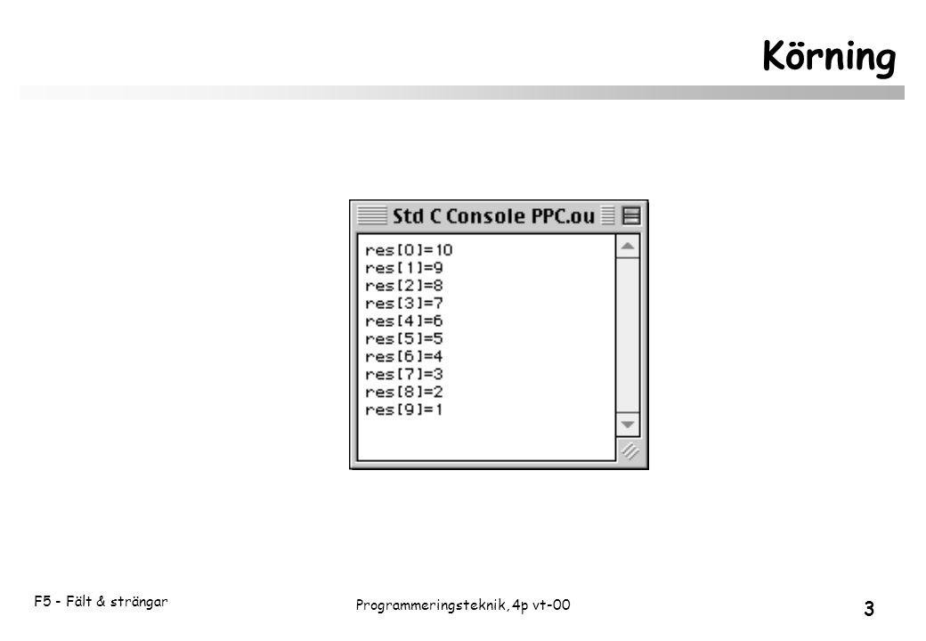 F5 - Fält & strängar 3 Programmeringsteknik, 4p vt-00 Körning