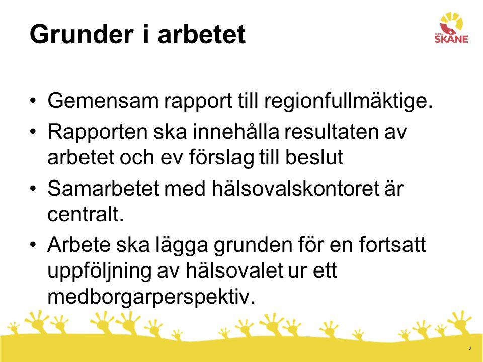 3 Grunder i arbetet Gemensam rapport till regionfullmäktige.
