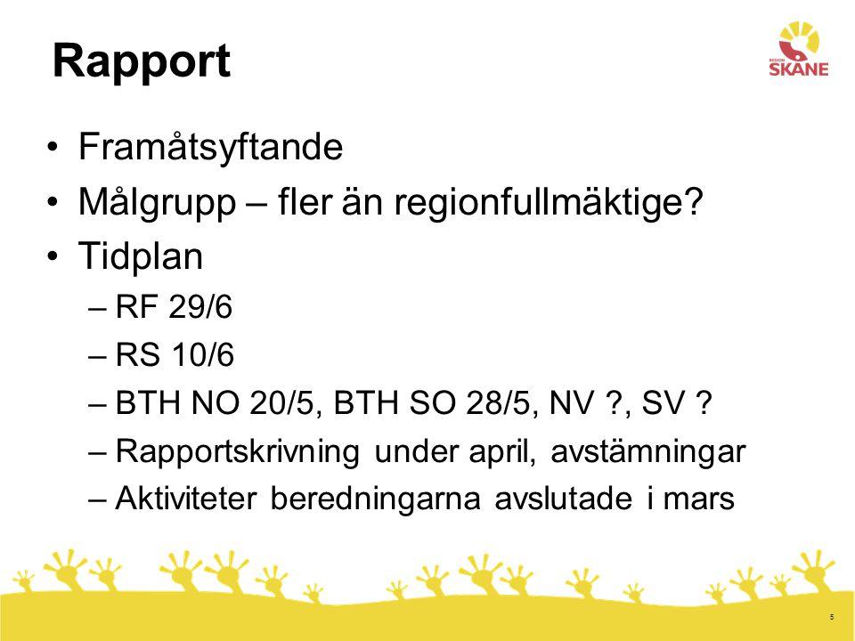 5 Rapport Framåtsyftande Målgrupp – fler än regionfullmäktige.