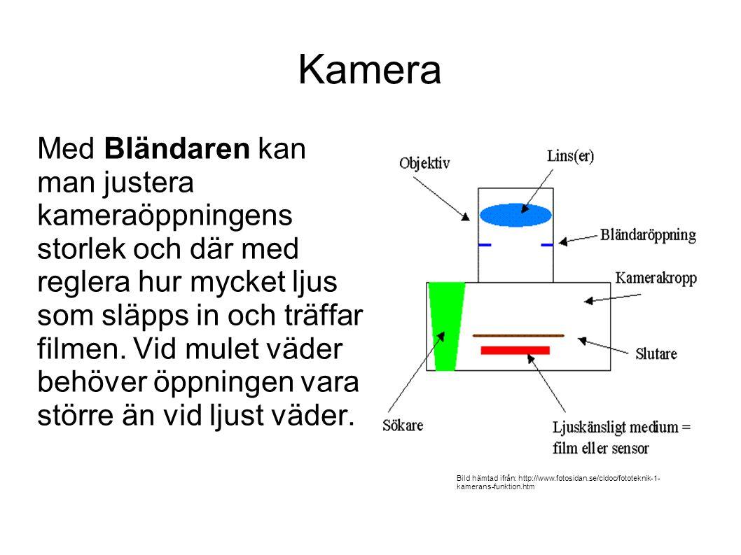 Kamera Med Bländaren kan man justera kameraöppningens storlek och där med reglera hur mycket ljus som släpps in och träffar filmen.