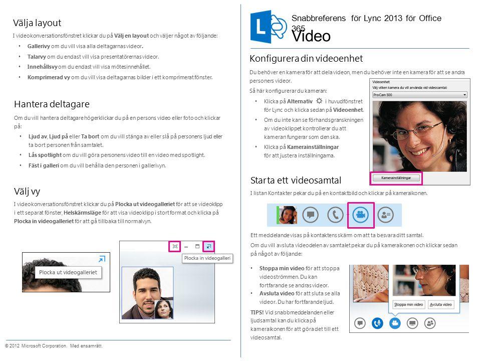 Starta ett videosamtal I listan Kontakter pekar du på en kontaktbild och klickar på kameraikonen.