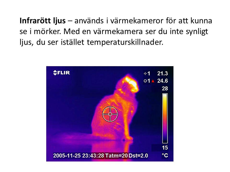 Infrarött ljus – används i värmekameror för att kunna se i mörker.